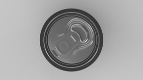 Blank small black aluminium soda can mockup on white background. Tin package of beer or drink. 3D rendering illustration Royalty Free Stock Photos