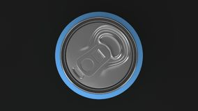Blank small blue aluminium soda can mockup on black background. Tin package of beer or drink. 3D rendering illustration Royalty Free Stock Photos