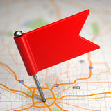 Blank Small Flag on a Map Background. Royalty Free Stock Image