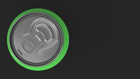 Blank small green aluminium soda can mockup on black background. Tin package of beer or drink. 3D rendering illustration Royalty Free Stock Photo