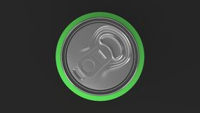 Blank small green aluminium soda can mockup on black background. Tin package of beer or drink. 3D rendering illustration Royalty Free Stock Image