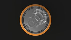 Blank small orange aluminium soda can mockup on black background. Tin package of beer or drink. 3D rendering illustration Royalty Free Stock Images
