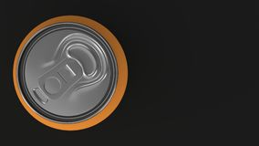 Blank small orange aluminium soda can mockup on black background. Tin package of beer or drink. 3D rendering illustration Stock Photos