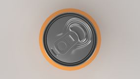 Blank small orange aluminium soda can mockup on white background. Tin package of beer or drink. 3D rendering illustration Royalty Free Stock Photos