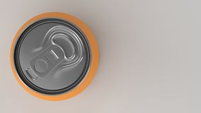 Blank small orange aluminium soda can mockup on white background. Tin package of beer or drink. 3D rendering illustration Stock Photography