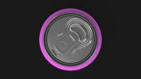 Blank small purple aluminium soda can mockup on black background. Tin package of beer or drink. 3D rendering illustration Royalty Free Stock Photography