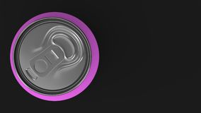Blank small purple aluminium soda can mockup on black background. Tin package of beer or drink. 3D rendering illustration Royalty Free Stock Images