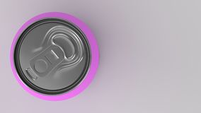 Blank small purple aluminium soda can mockup on white background. Tin package of beer or drink. 3D rendering illustration Royalty Free Stock Image