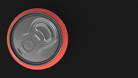 Blank small red aluminium soda can mockup on black background. Tin package of beer or drink. 3D rendering illustration Royalty Free Stock Photo