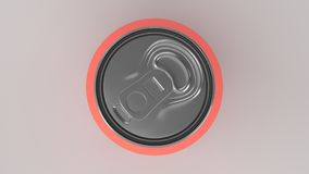 Blank small red aluminium soda can mockup on white background. Tin package of beer or drink. 3D rendering illustration Royalty Free Stock Images