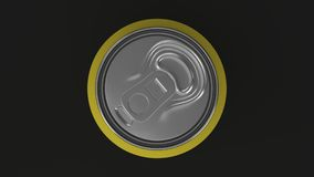 Blank small yellow aluminium soda can mockup on black background. Tin package of beer or drink. 3D rendering illustration Royalty Free Stock Photography