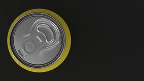 Blank small yellow aluminium soda can mockup on black background. Tin package of beer or drink. 3D rendering illustration Stock Photography
