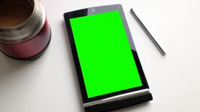 A blank smart device with green screen Royalty Free Stock Photo