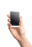Blank smart phone in female hand Royalty Free Stock Photo