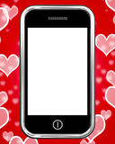 Blank Smartphone Screen With Hearts Background Royalty Free Stock Photography