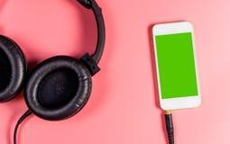 Blank smartphone screen for Music application headphone Stock Photos