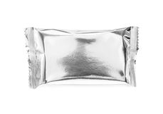 Blank snack foil packaging isolated on white Royalty Free Stock Image