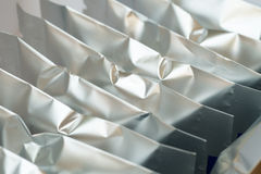 Blank snack foil packaging. Silver blank snack foil packaging Royalty Free Stock Photography