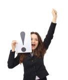 blank spännande pekande kvinna royaltyfri fotografi