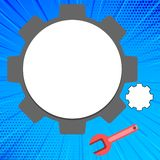 Blank Space Big and Small Cog Wheel with Wrench. Hardware Gear and Spanner Tool Set for Mechanical Industry. Creative. Big and Small Cog Wheel Gear and Wrench stock illustration