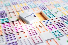 A blank space of business planning concept with dominoes game. Background is zooming royalty free stock images