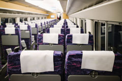 Blank space of chair back, Inside high speed train compartment royalty free stock photo