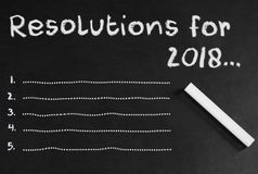 Blank Space for five Resolutions in 2018. Resolutions for 2018 written  graphically and with some numbers with chalk over blackboard Stock Photography