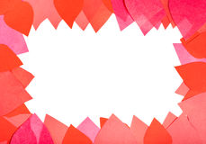 Blank space framing by red and pink paper hearts Stock Photos