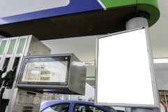 Blank space in a gas station for your advertising. stock photography