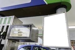 Blank space in a gas station for your advertising. royalty free stock image