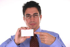 Blank space III. Businessman holding a blank business card Royalty Free Stock Photos
