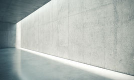 Blank space interior wall with white lights . 3d Stock Photo