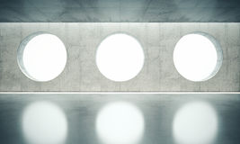 Blank space interior wall with white three windows Royalty Free Stock Photography