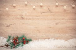 Blank space for New Year`s greetings. On a wooden background royalty free stock image