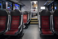 Blank space of red chair back, Inside compartment.  Stock Photos