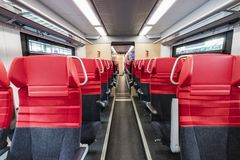 Blank space of red chair back, Inside compartment royalty free stock photo