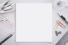 Blank space with staple and office stationery. Blank white space with staple and office stationery Stock Image