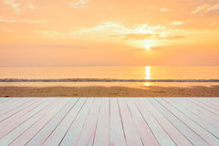 Blank space of wooden table and view of sunset or sunrise on Stock Image