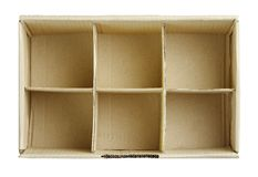 Free spaces in the box isolated on white  Royalty Free Stock Photos