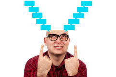 Blank speech. Funny man with the opened head Stock Photos