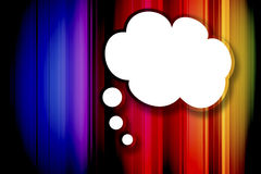 Blank speech bubble. On Striped colorful background vector illustration