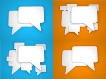 Blank Speech Bubble on Blue and Orange Background. Stock Photos