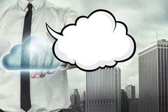 Blank speech bubble on cloud computing theme with Royalty Free Stock Photography