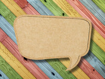 Blank Speech Bubble on colorful painting wood Royalty Free Stock Photo