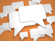 Blank Speech Bubble on Orange Background. Stock Image