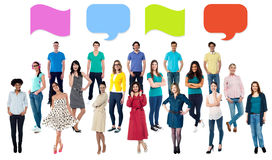 Blank speech bubbles, collage concept. Diversified group of people with similar ideas royalty free illustration