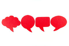 Blank speech bubbles ,Four objects ,Red color Stock Images