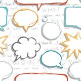 Blank speech bubbles on love text pattern Royalty Free Stock Photos