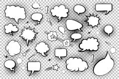 Blank speech bubbles. Set of comic speech bubbles and elements with halftone shadows. Vector illustration. Blank speech bubbles. Set of comic speech bubbles and Royalty Free Stock Images