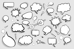 Blank speech bubbles. Set of comic speech bubbles with shadows. Vector illustration Stock Photos